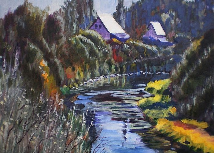 Landscape Greeting Card featuring the painting Landscape by Elena Sokolova