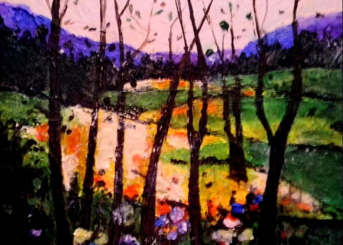 Landscape Greeting Card featuring the painting Landscape by John Shipp