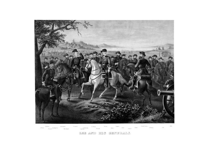 Robert E Lee Greeting Card featuring the painting Lee And His Generals by War Is Hell Store