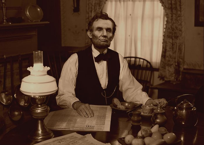 Abraham Lincoln Greeting Card featuring the digital art Lincoln At Breakfast by Ray Downing