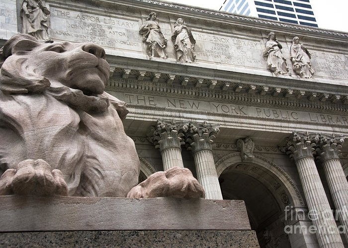 Architecture Greeting Card featuring the photograph Lion New York Public Library by Amy Cicconi