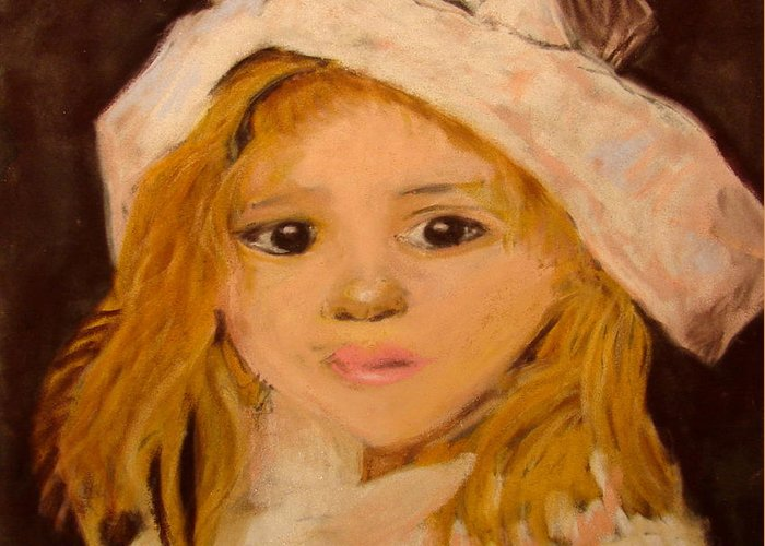 Pastel Portrait Greeting Card featuring the pastel Little Girl by Joseph Hawkins
