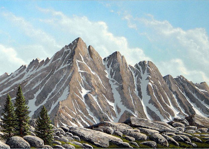 Landscape Greeting Card featuring the painting Lofty Peaks by Frank Wilson