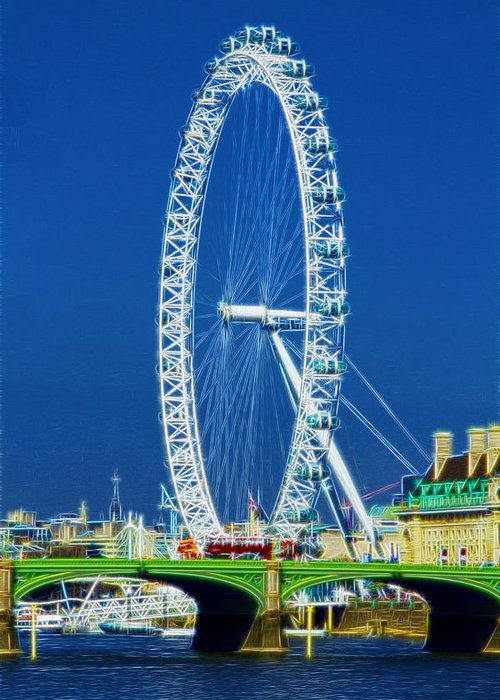 London Eye Greeting Card featuring the photograph London Eye Westminster Bridge by David French