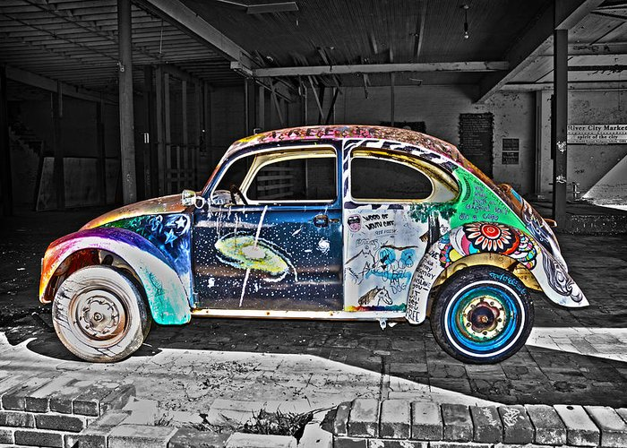Volkswagen Beetle Greeting Card featuring the photograph Lonely Old Bug by Chantal Saucier