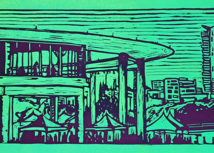 Long Center Greeting Card featuring the drawing Long Center by William Cauthern