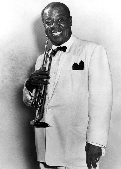 20th Century Greeting Card featuring the photograph Louis Armstrong (1900-1971) by Granger
