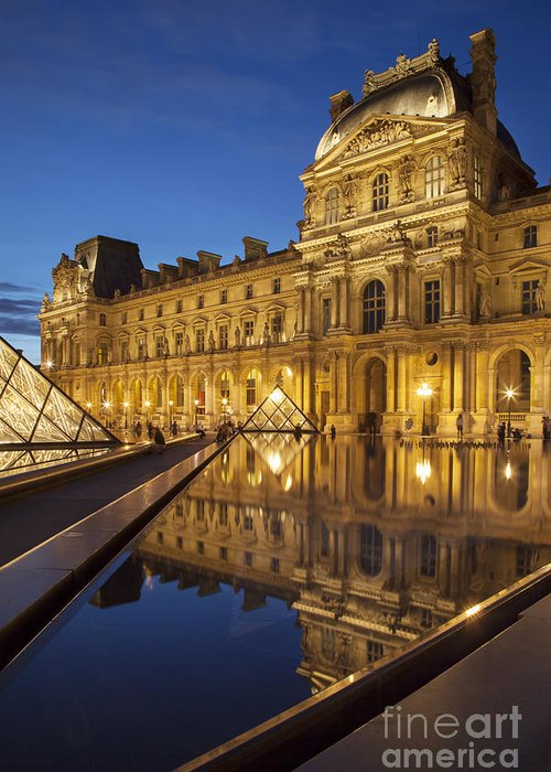 Architectural Greeting Card featuring the photograph Louvre Reflections by Brian Jannsen