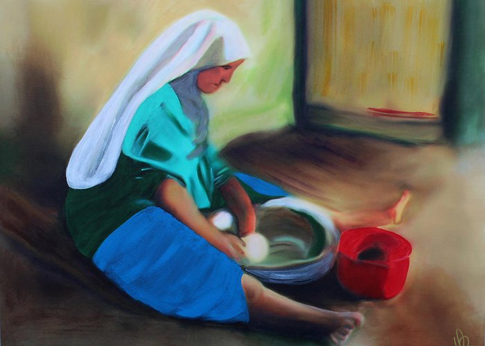 Woman Greeting Card featuring the painting Making Bread by Deborah Boyd