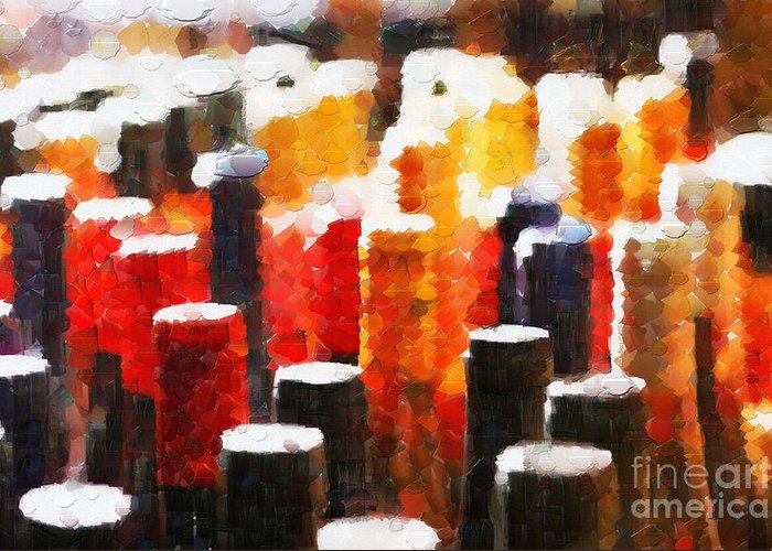 Objects Greeting Card featuring the digital art Many Wine Bottles Painting by Magomed Magomedagaev