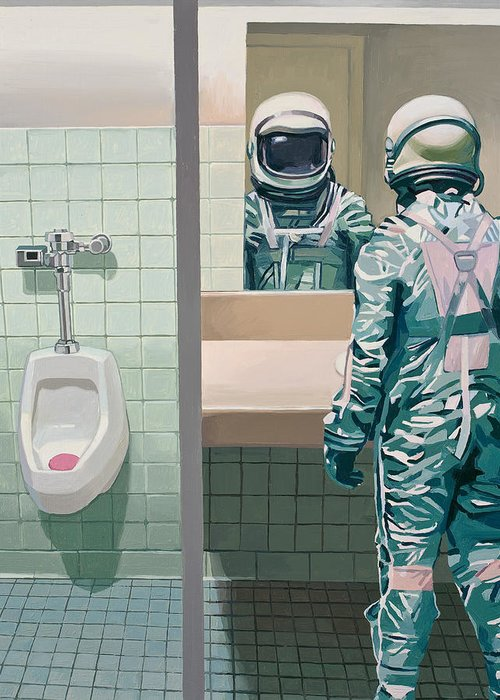 Astronaut Greeting Card featuring the painting Men's Room by Scott Listfield