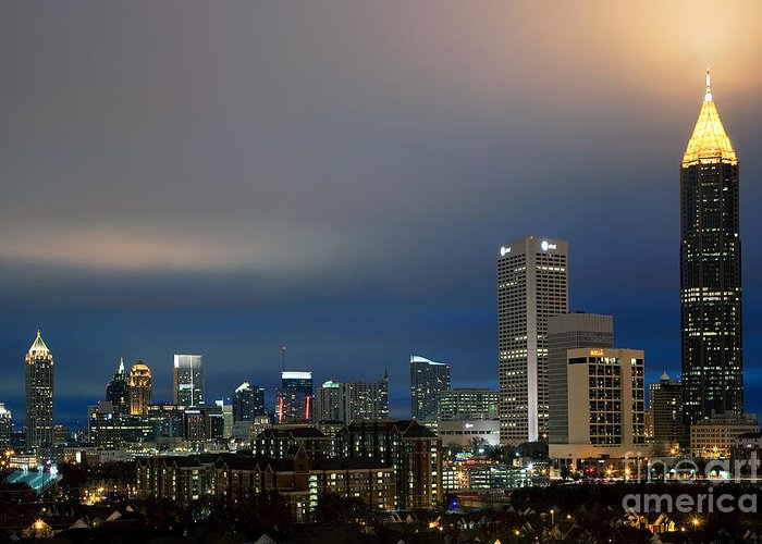 Bank Of America Greeting Card featuring the photograph Midtown Atlanta Skyline At Dusk by Bill Cobb
