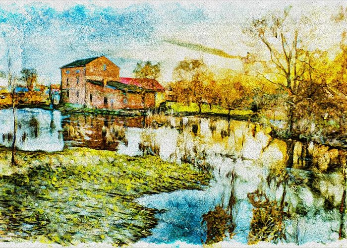 Agriculture Greeting Card featuring the digital art Mill By The River by Jaroslaw Grudzinski