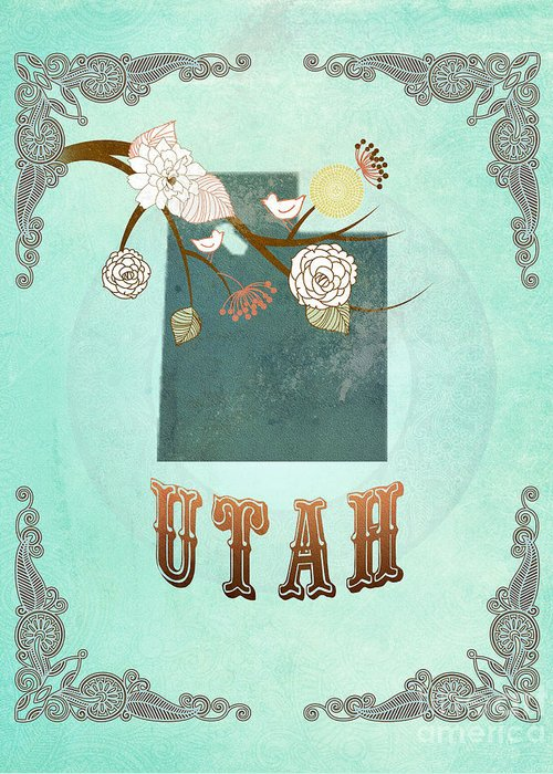 Utah Greeting Card featuring the digital art Modern Vintage Utah State Map by Joy House Studio