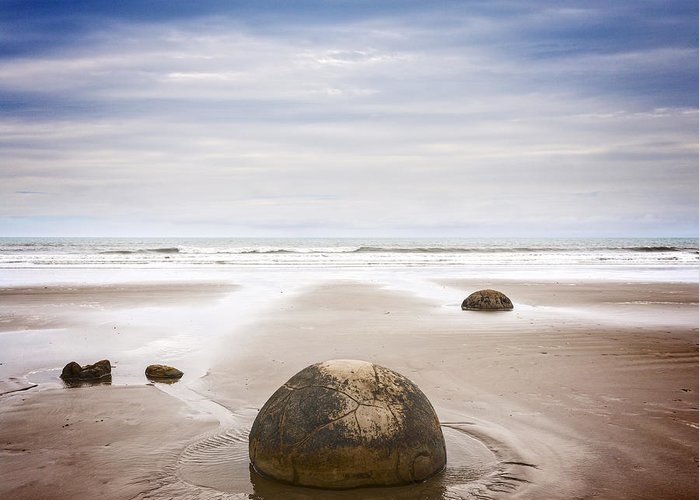 Beach Greeting Card featuring the photograph Moeraki Boulders Otago New Zealand by Colin and Linda McKie