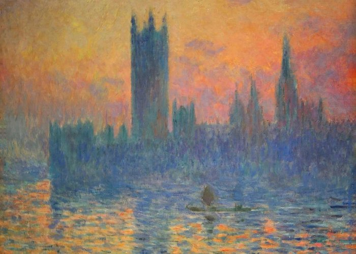 The Houses Of Parliament Greeting Card featuring the photograph Monet's The Houses Of Parliament At Sunset by Cora Wandel