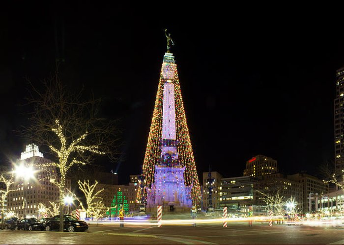 Indiana Greeting Card featuring the photograph Monument Circle At Christmas by Twenty Two North Photography