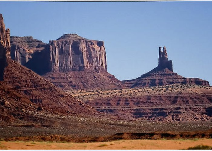Landscape Greeting Card featuring the photograph Monument Valley by Jon Berghoff