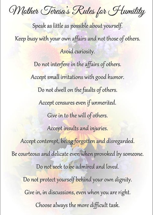 Mother Teresa Greeting Card featuring the photograph Mother Theresa's Rules For Humility by Jocelyn Friis