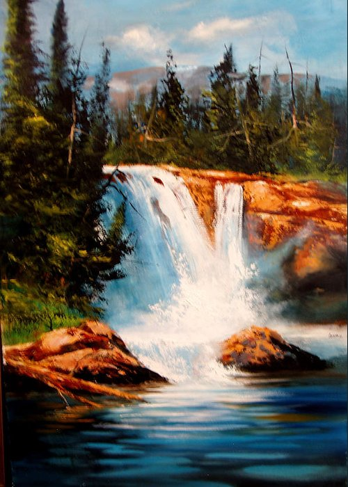 Landscape Greeting Card featuring the painting Mountain Falls by Robert Carver