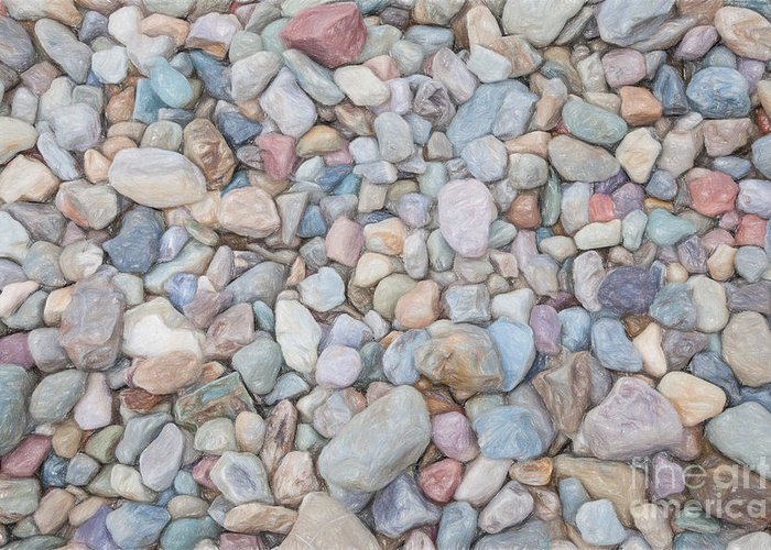 Close-up Greeting Card featuring the painting Natural Rock Pebble Backgorund by Shaun Wilkinson