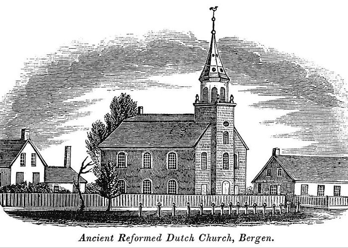 1844 Greeting Card featuring the painting New Jersey Church, 1844 by Granger