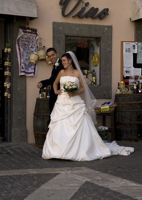 Newly Married Couple During A Shoot In Castel Gandolfo Italy Greeting Card