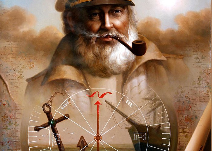 Sea Captain Greeting Card featuring the painting News Map Captain 5 Or Sea Captain by Yoo Choong Yeul