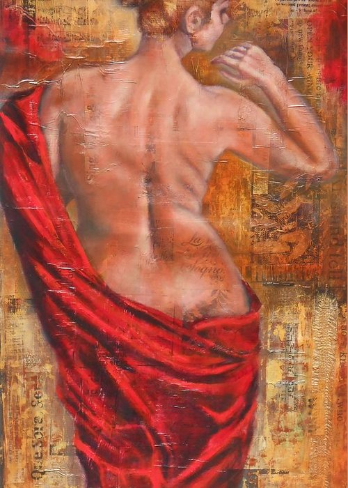 Female Greeting Card featuring the painting Nude 1 by Susan Goh