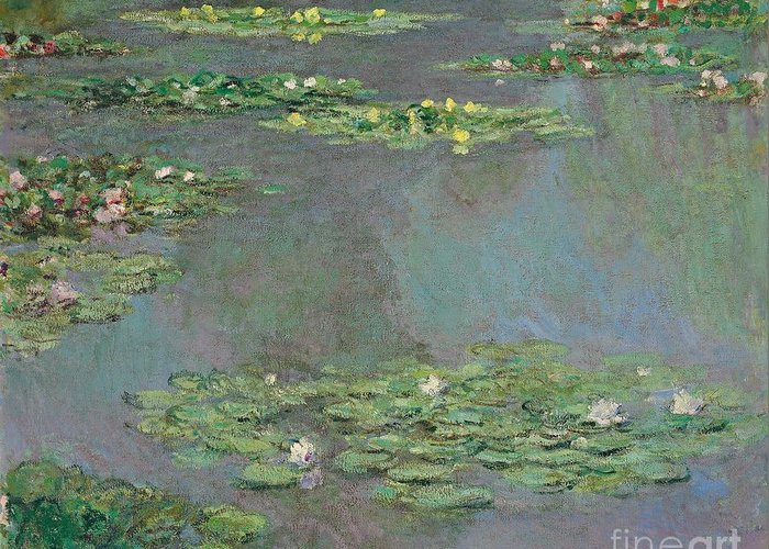 Lily Pond; Impressionist; Giverny; Blue; Flowers; Green; Lily Pad; Lily Pads; Pond; Pink; Water Lillies Greeting Card featuring the painting Nympheas by Claude Monet