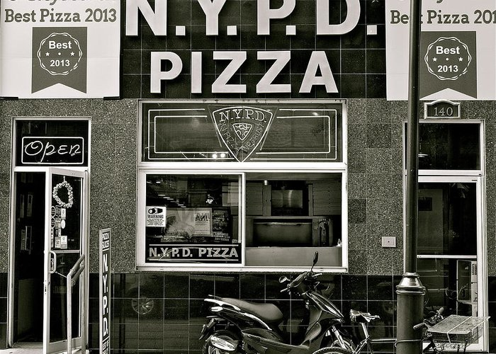 N.y.p.d. Greeting Card featuring the photograph N.y.p.d. Pizza by Ira Shander