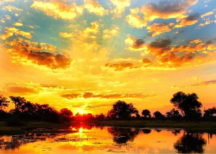 Okavango Swamp Greeting Card featuring the photograph Okavango Delta Sunset by Amanda Stadther