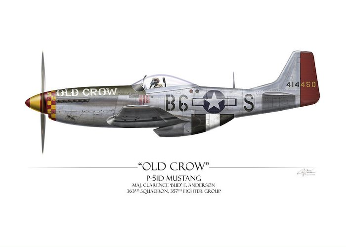 Aviation Greeting Card featuring the painting Old Crow P-51 Mustang - White Background by Craig Tinder