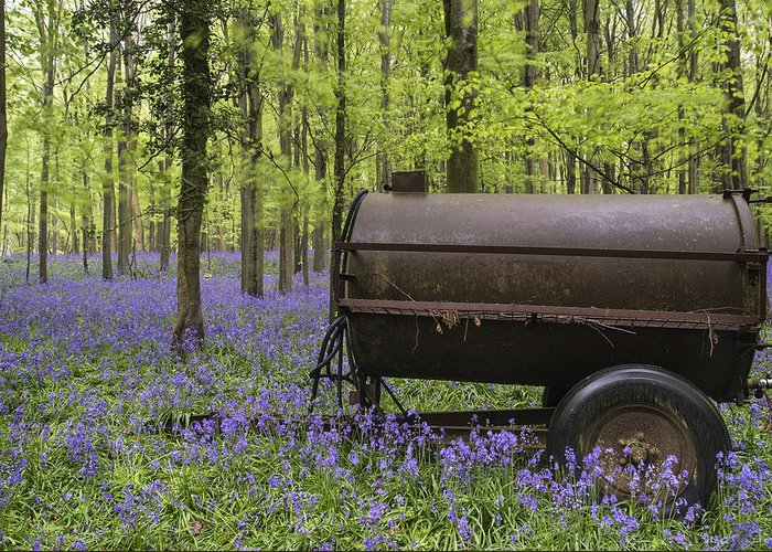 Landscape Greeting Card featuring the photograph Old Farm Machinery In Vibrant Bluebell Spring Forest Landscape by Matthew Gibson