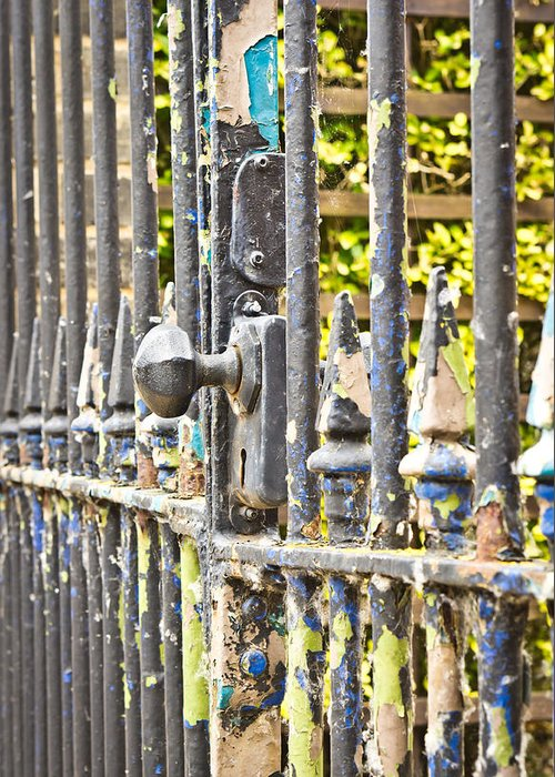 Abstract Greeting Card featuring the photograph Old Gate by Tom Gowanlock