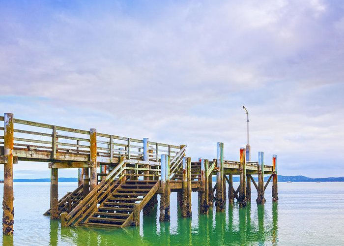 Jetty Greeting Card featuring the photograph Old Jetty With Steps Maraetai Beach Auckland New Zealand by Colin and Linda McKie