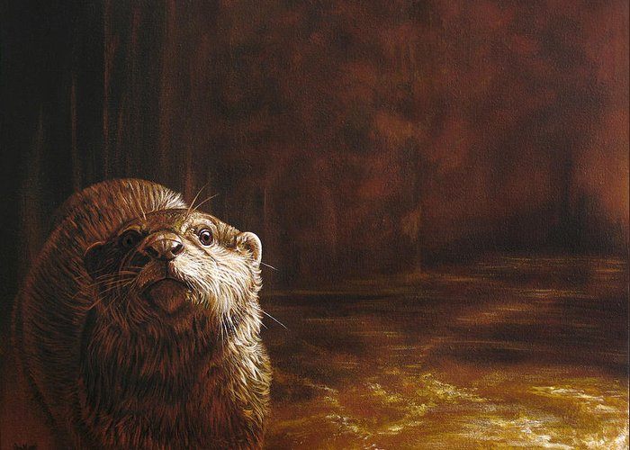 Otter Greeting Card featuring the painting Otter Curiosity by Cara Bevan