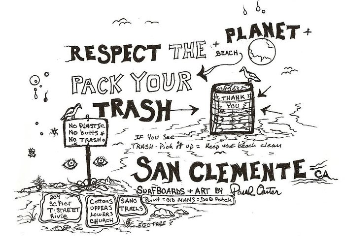 Packyourtrashdrawing Greeting Card featuring the drawing Pack Your Trash 3 by Paul Carter