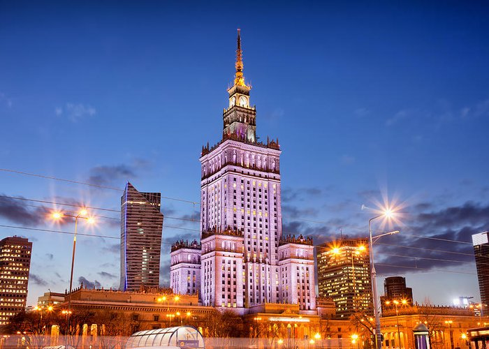 Warsaw Greeting Card featuring the photograph Palace Of Culture And Science At Dusk In Warsaw by Artur Bogacki