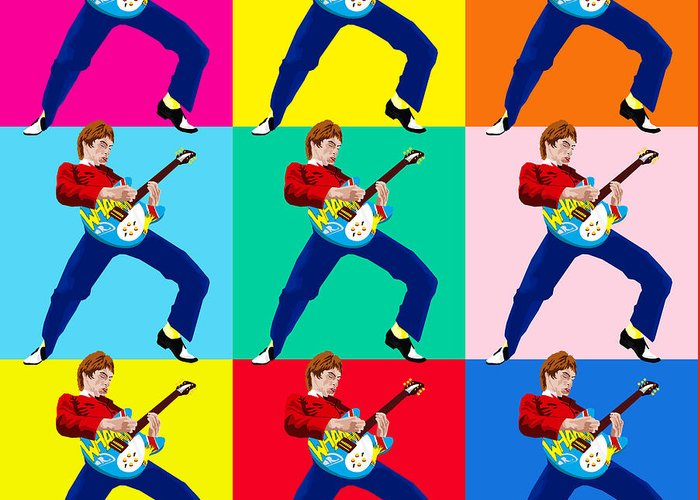 Music Greeting Card featuring the digital art Paul Weller Wham by Neil Finnemore
