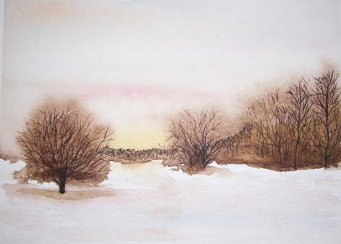Sunset On A Snowy Wood And Field. On Stopping By Woods On A Snowy Evening Greeting Cards