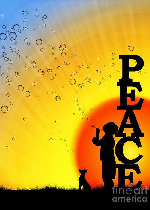Boy Greeting Card featuring the photograph Peace by Tim Gainey