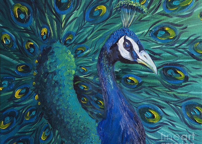 Peacock Greeting Card featuring the painting Peacock by Willson Lau