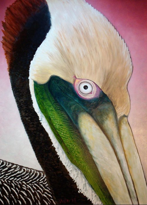 Pelican Greeting Card featuring the painting Pelican Peeking by Scott Plaster