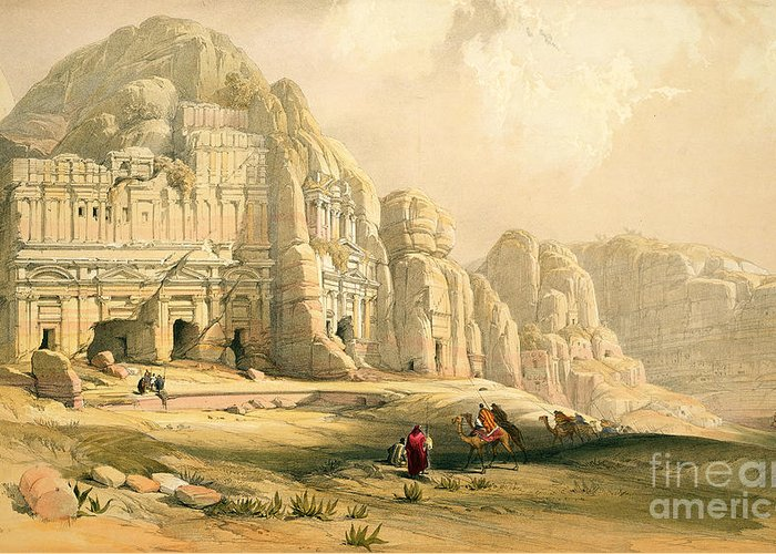 Landscape Greeting Card featuring the painting Petra by David Roberts