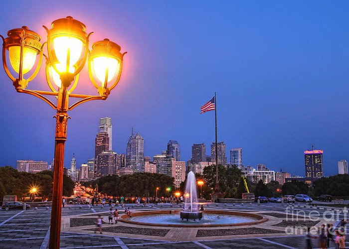 Philadelphia Greeting Card featuring the photograph Philadelphia At Dusk by Olivier Le Queinec