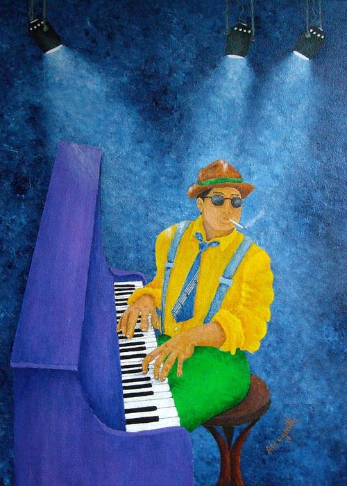 Pamela Allegretto Greeting Card featuring the painting Piano Man by Pamela Allegretto