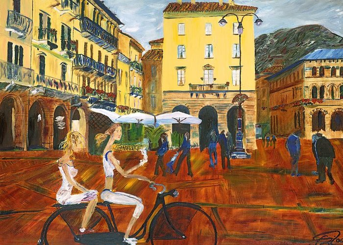 Italy Greeting Card featuring the painting Piazza De Como by Gregory Allen Page