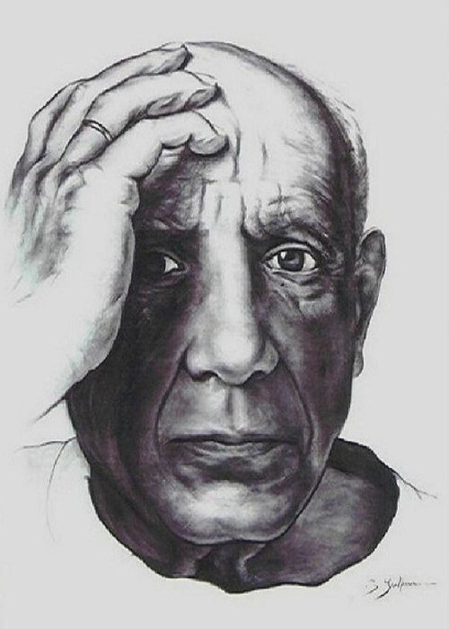 Picasso Greeting Card featuring the drawing Picasso by Guillaume Bruno