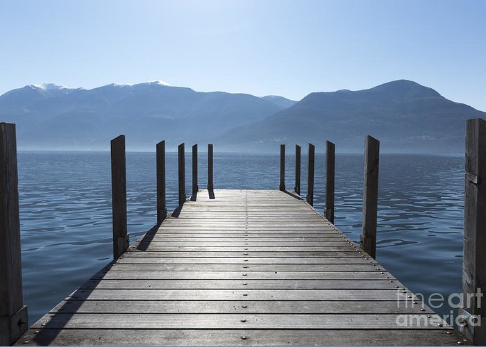 Pier Greeting Card featuring the photograph Pier On An Alpine Lake by Mats Silvan